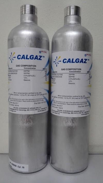 Chai khí chuẩn 4 thành phần - 4 mixed gas: 25ppm H2S / 100ppm CO / 2.5% CH4 (50% LEL) / 18% O2